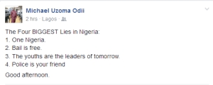 Man lists the Four Biggest Lies in Nigeria (See Here)